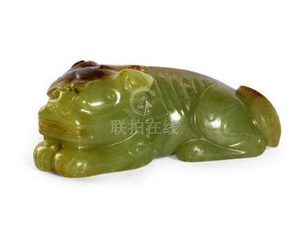 A green jade carving of a mythical beast, 19th/20th century