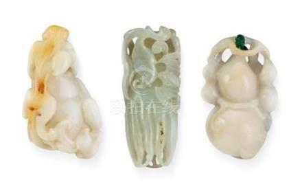 Three jade pendants (3) 6.7 cm, 6 cm, 6.5 cm long