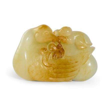 A jade 'duck and boy' carving Qing dynasty, 19th century 6.5