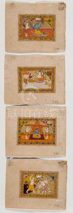 FOUR MINIATURE PAINTINGS DEPICTING DEITIES – INDIA 19TH…