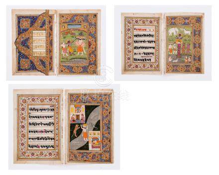 SIX INDIAN MINIATURE PAINTINGS 19TH CENTURY