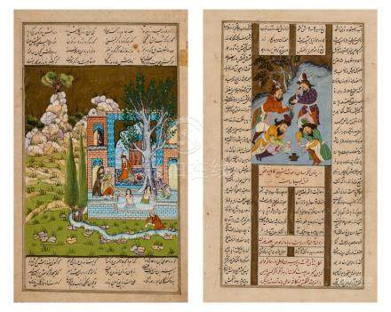 TWO INDO PERSIAN MINIATURE PAINTINGS WITH CALLIGRAPHY 1…