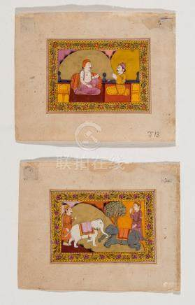 A PAIR OF INDIAN MINIATURE PAINTINGS 19TH CENTURY