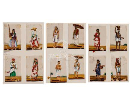 A GROUP OF 12 MINIATURE PORTRAITS ON CELLULOID – 1920s