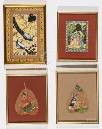 FOUR SMALL INDIAN PAINTINGS – 19TH AND 20TH CENTURY