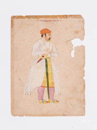 AN INDIAN MINIATURE PORTRAIT PAINTING 19th CENTURY