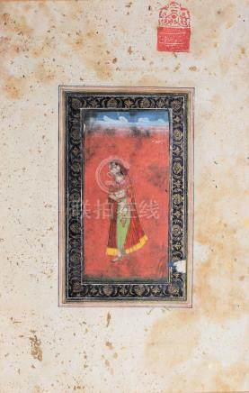 AN INDIAN MINIATURE PAINTING OF A LADY WITH LITTLE A WA…