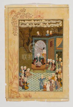 MAHARAJA ON A THRONE WITH ENTOURAGE – INDO PERSIAN, 19T…