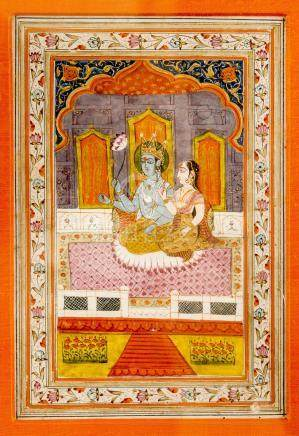 INDIAN MINIATURE PAINTING OF KRISHNA WITH LOVER