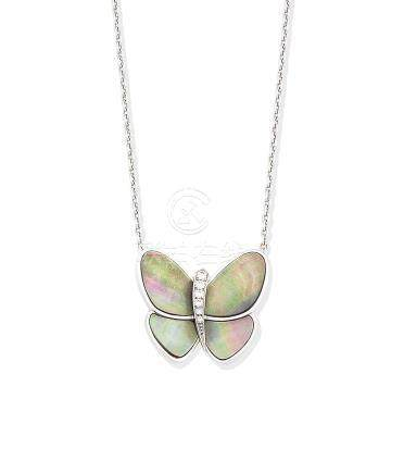 A mother-of-pearl and diamond butterfly necklace, by Van Cleef & Arpels
