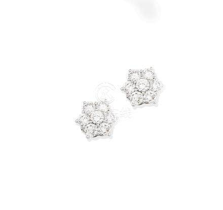 A pair of diamond cluster earstuds