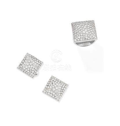 A diamond 'Berlingot' dress ring and earring suite, by Cartier (2)