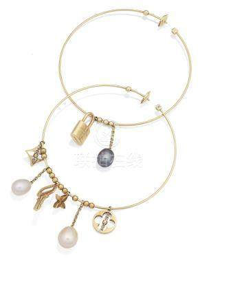 A pair of cultured pearl earhoops, by Louis Vuitton