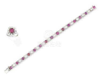 A ruby and diamond bracelet and a ruby and diamond cluster ring (2)