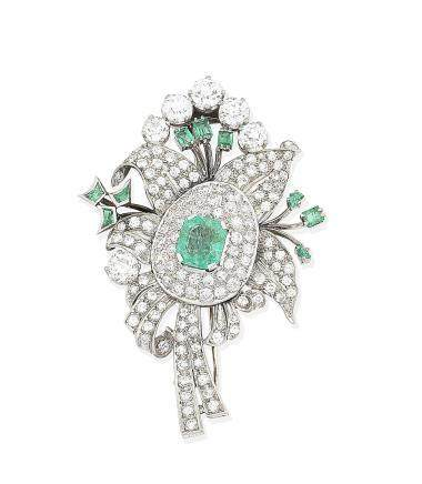 An emerald and diamond spray brooch,