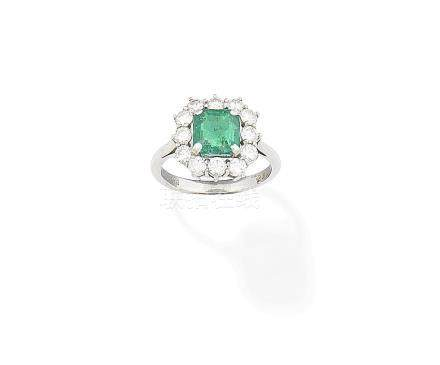 An emerald and diamond ring, 1975