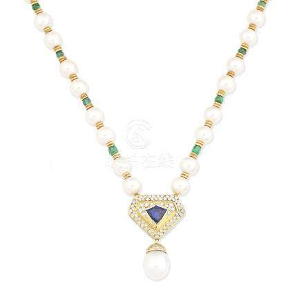 A cultured pearl and gem-set necklace