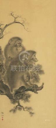 Two monkeys, China, watercolour / paper, 20th c.