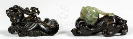 Two Chinese Jade-Mythical-Beasts, ca. 9 cm long