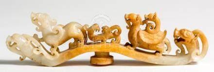 Oblong Chinese Jade Dragon, length ca. 24,5 cm