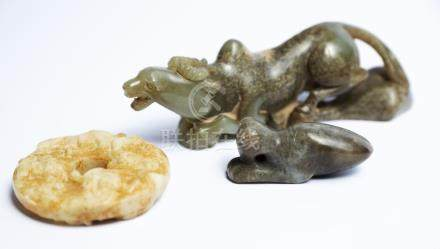Two Chinese Jade Mythical Beasts and one Bi-Disc