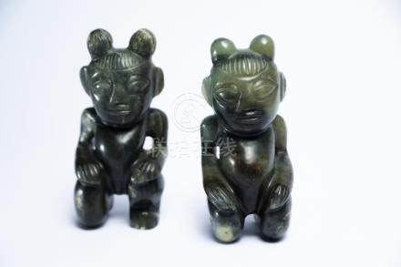 A Chinese Jade Pair of Figures