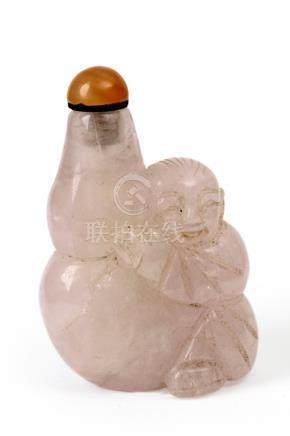 A 20th century Chinese carved rose quartz snuff bottle