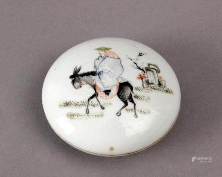 A 20th century Chinese porcelain ink box from the Republic p