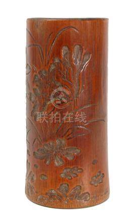 A 20th century Chinese carved bamboo brush pot