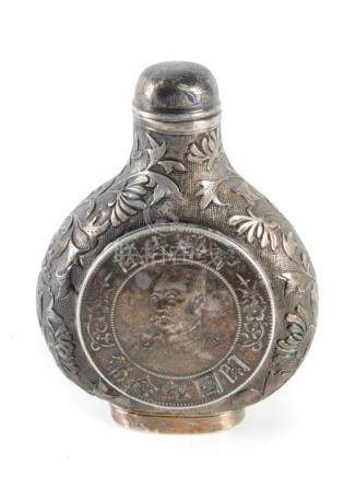 A 20th century Chinese silver snuff bottle made with two sil