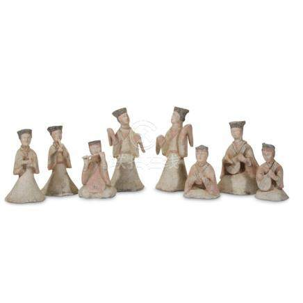 A group of eight painted pottery musicians and dancers, Han