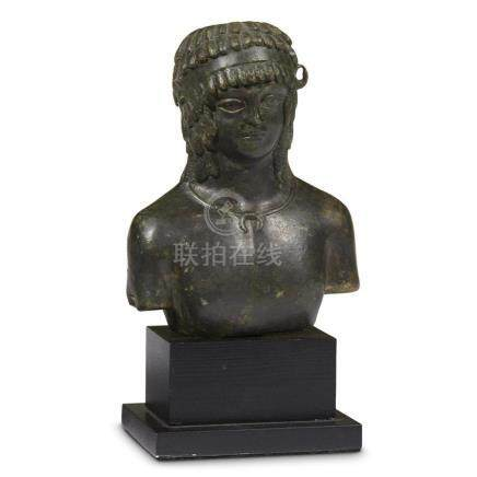 ROMAN BALSAMARIUM IN THE FORM OF A BUST OF ANTINOUS, 2nd Cen