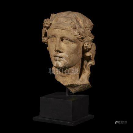 ROMAN HERM HEAD OF DIONYSOS, C. 1st-2nd Century AD