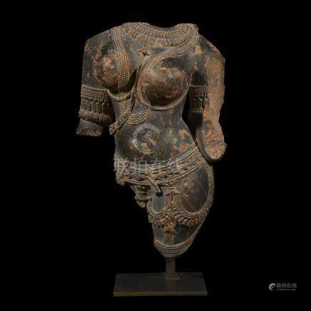CENTRAL INDIAN TORSO OF A CELESTIAL BEING, C. 10th Century A