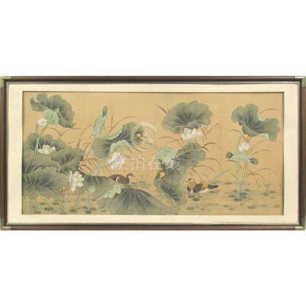 Chinese Painting of Mallards Among Lotuses.