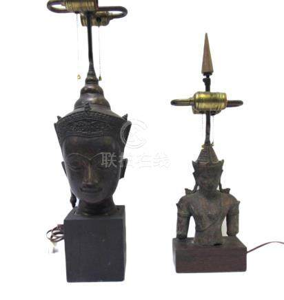 Two Thai Bronze Figures of Buddha as Lamps.