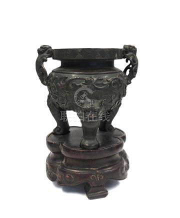 Bronze Tripod Censer with Chilong.