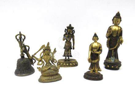 Group of 4 Buddhist Figural Bronzes and Vajra.