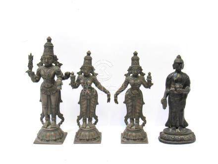 Bronze Medicine Buddha together with 3 Indian