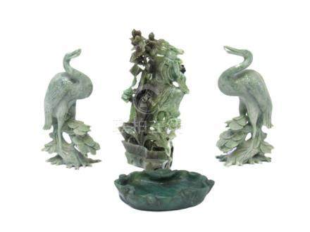 Jade Grouping of Figure with Two Cranes and