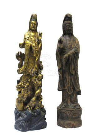 Pair of Large Carved Wood Figures of Guanyin.