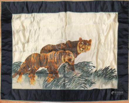 Chinese Silk 'Tiger' Embroidery.