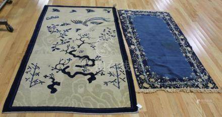 2 Antique And Finely Hand Woven Chinese Area Rugs.