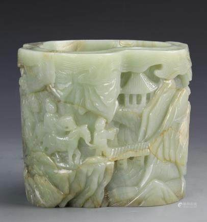 A 19TH C. HETIAN JADE CARVED BRUSH POT