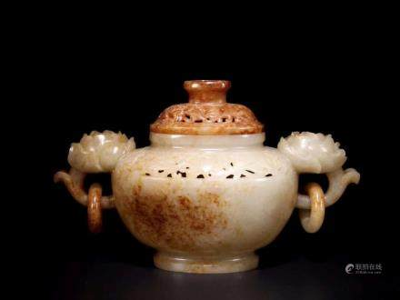 A HETIAN JADE CARVED INCENSE BURNER AND COVER