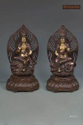 A PAIR OF BRONZE FIGURE OF BUDDHAS, YONGLE MARK