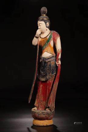 A WOODEN PAINTED FIGURE OF STADING BODHISATTVA