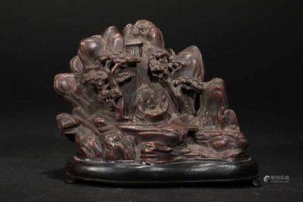 A CHENXIANG WOOD CARVED 'MOUNTAIN' ORNAMENT