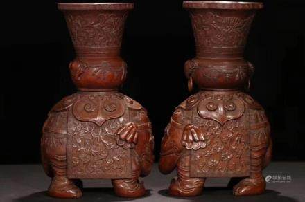 A PAIR OF BAMBOO CARVED 'ELEPHANT' VASES