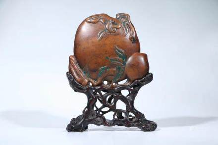 A TANXIANG WOOD PEACH-FORM WATER COUPE ORNAMENT